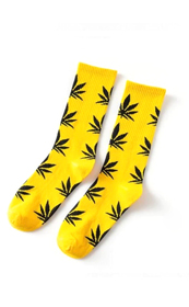 Calcetines ALV & 420 Unisex Amarillos con hojas Negras