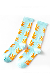 Calcetines Hoja Cannabis / Marihuana 420 Unisex Azules con hojas naranjas!