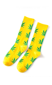 Calcetines Hoja Cannabis / Marihuana 420 Unisex Amarillos