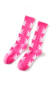 Calcetines Hoja Cannabis / Marihuana 420 Unisex Rosas con hojas blancas